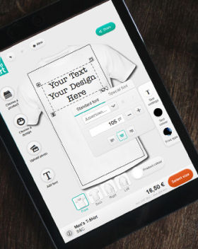 22f03253 Den nye T-skjortedesigneren gjør det mulig for brukerne å designe og kjøpe  sine yndlings-T-skjorter på et nettbrett.