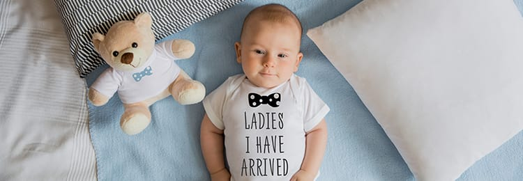 Baby with personalised baby body and matching teddy bear