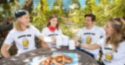 Friends celebrate the Oktoberfest in personalised T-shirts