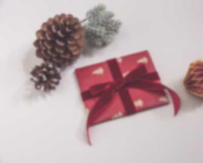 Lahjakortti, lahjaksi pakattuna, annetaan lahjaksi joulukuusen edessä