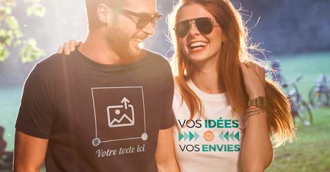 Couple portant un t-shirt personnalisé en plein air.