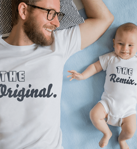 Father and son in personalised outfits
