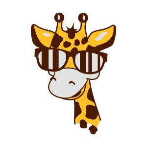 a giraffe with cool sunglasses mugs