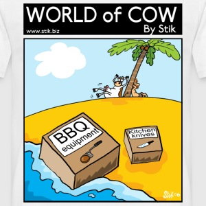 White BBQ Cow Island Men's Tees - Men's T-Shirt