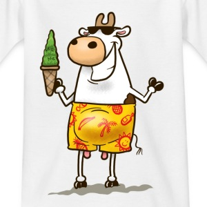 White Summer Cow Kid's Shirts  - Teenage T-shirt