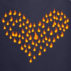Navy flame - fire - heart - love  Aprons - Cooking Apron