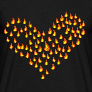 Svart flame - fire - heart - love T-skjorter - T-skjorte for menn