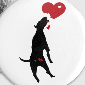 White kiss butt pitbull (2c) Buttons - Buttons large 56 mm