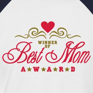 Hvit/rød Vinner av beste mamma Award / Winner of Best Mom Award (2c) T-skjorter - Kortermet baseball skjorte for menn