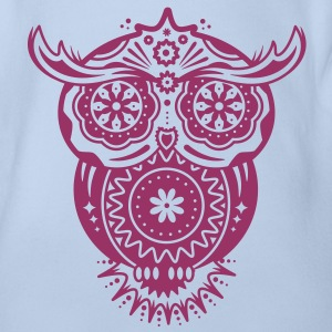 an owl with different decorations in the style of the Mexican Sugar Skulls Baby Shirts  - Organic Short-sleeved Baby Bodysuit