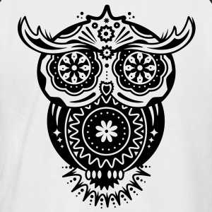 an owl with different decorations in the style of the Mexican Sugar Skulls T-Shirts - Men's Baseball T-Shirt