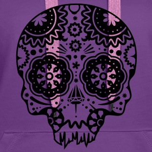 Skull with different ornaments in the style of the Mexican Sugar Skulls Hoodies & Sweatshirts - Women's Premium Hoodie