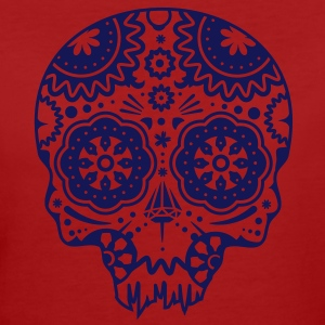 Skull with different ornaments in the style of the Mexican Sugar Skulls T-Shirts - Women's Organic T-shirt