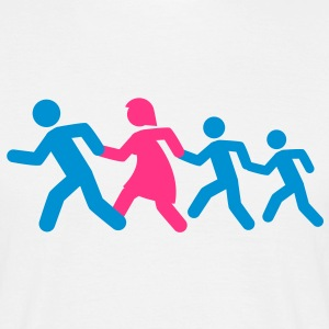 running_family_with_two_boys T-shirts - Herre-T-shirt