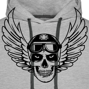 biker skull wings Sweat-shirts - Sweat-shirt à capuche Premium pour hommes