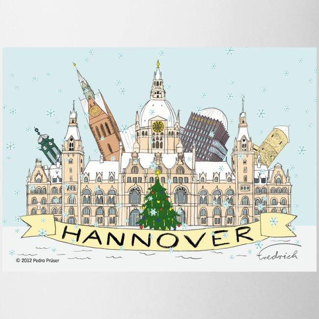 Hannover Souvenir Comic Winter Becher einseitig bedruckt