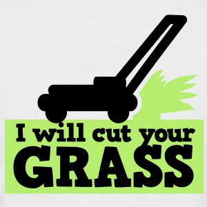 I WILL CUT YOUR GRASS! lawn mower and clippings T-Shirts - Men's Baseball T-Shirt