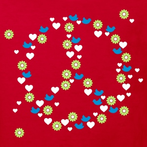 Rouge love 'n peace (3c) T-shirts Enfants - T-shirt Bio Enfant