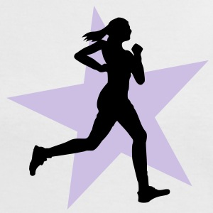 running woman with star 2c / jogging T-shirts - Dame kontrast-T-shirt
