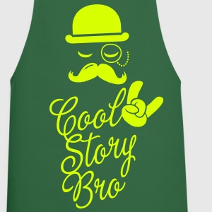 Funny Cool Story Bro with fashionable moustache like a sir t-shirts for geek, stag do, mad birthday   Aprons - Cooking Apron