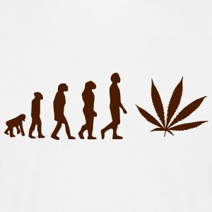 Evolution ganja, Jamaica, cannabis, joint, dowel, grass, reggae, hemp T-shirts - Men's T-Shirt