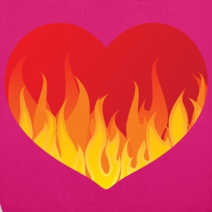Heart with fire - Bio-Stoffbeutel