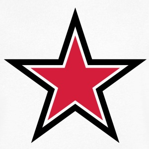 sharp red star with sharp black outline T-Shirts - Men's V-Neck T-Shirt