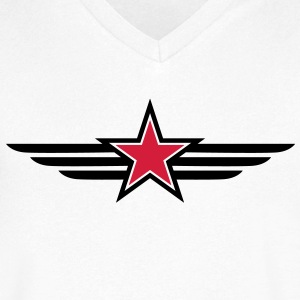 sharp red star black outline with 'wings' T-Shirts - Men's V-Neck T-Shirt