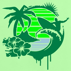 Surfing graffiti - Palm, hibiscus, island, wave and surfer with surfboard  Baby Shirts  - Baby T-Shirt