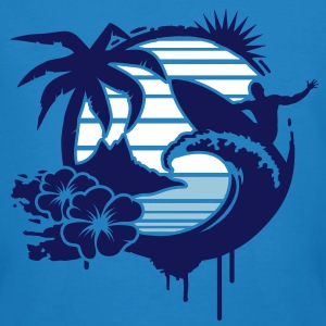 Surfing graffiti - Palm, hibiscus, island, wave and surfer with surfboard  T-Shirts - Men's Organic T-shirt