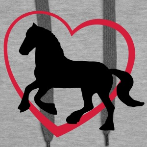Fresian or Gypsie Cob type Horse with Heart Sweaters - Vrouwen Premium hoodie