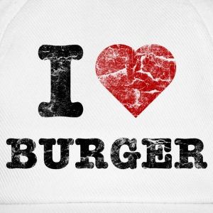 i love burger vintage dark Caps & Hats - Baseball Cap