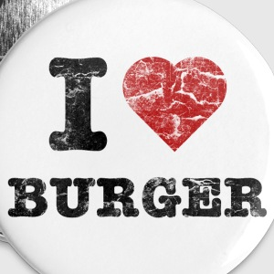 i love burger vintage dark Badges - Badge moyen 32 mm