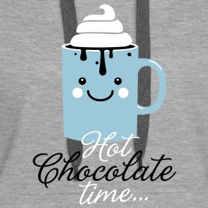 Funny cute mug with i love hot chocolate with sweet cream time slogan in cold snow freezing fall winter t-shirts for geek chic, trendy girls, gift friend christmas mothersday valentine's day Hoodies & Sweatshirts - Women's Premium Hoodie