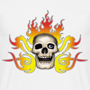 skull and flames - T-shirt Homme