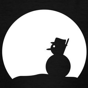 Schneemann bei Vollmond, Winternacht. T-Shirts für Kinder, Snowman, Winter, T-Shirts Kindergrößen, Kindershirt, Kindershirts, schwarz, weiß bedrucken - Kinder T-Shirt