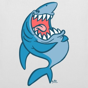 White Big Blue Laughing Cartoon Shark by Cheerful Madness!! online shop Bags  - Tote Bag