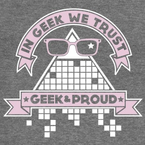 In Geek We Trust Felpe - Felpa con scollo a barca da donna, marca Bella