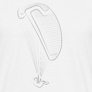 Line drawing sky paraglider black T-shirts - Herre-T-shirt
