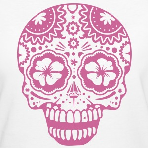 A laughing skull in the style of Sugar Skulls T-Shirts - Women's Organic T-shirt