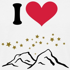 I love, I heart Mountains, Skiing, Wintersports, T - Men's T-Shirt