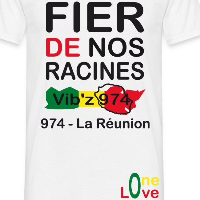 Tee shirt classique Homme Fier de nos racine 974 - Réunion