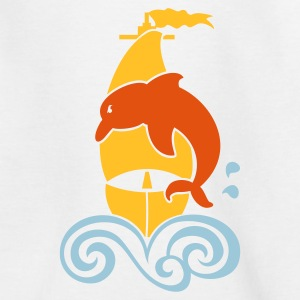 Weiß Segeln mit Delphin / sailing with dolphin (3c) Kinder T-Shirts - Teenager T-Shirt