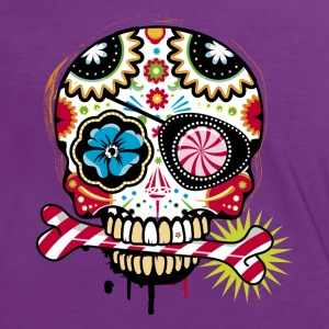 Skull with eye patch and candy cane T-Shirts - Women's Ringer T-Shirt