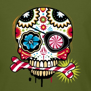 Skull with eye patch and candy cane T-Shirts - Men's Organic T-shirt