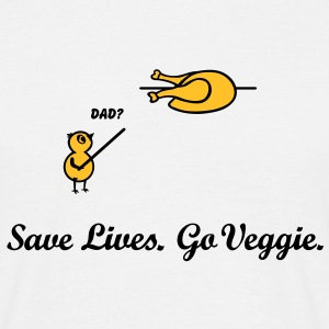 Save Lives, go veggie Go Green. vegan vegetarian T-Shirts - Men's T-Shirt