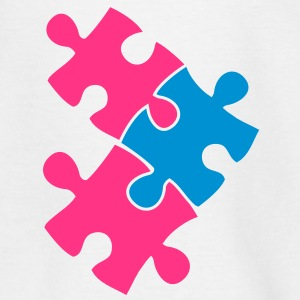 three jigsaw pieces fitting in two colour cute Shirts - Kids' T-Shirt