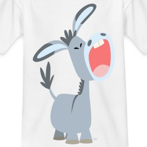 White Cute Cartoon Donkey Kid's Shirts  - Teenage T-shirt