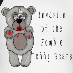 Funny Zombie Teddy Bear Invasion Cartoon - Men's Long Sleeve Baseball T-Shirt