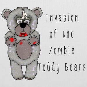 Funny Zombie Teddy Bear Invasion Cartoon - Tote Bag